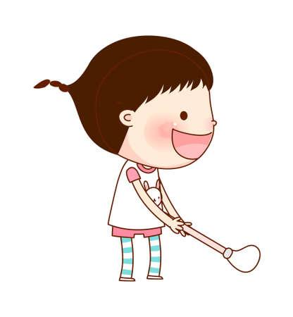 opened mouth: Retrato de ni�a de la celebraci�n palo de golf Vectores