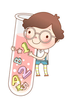 Portrait of boy holding test tube Vector