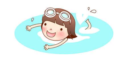 meisje zwemmen: Portret van meisje zwemmen