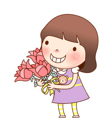 Portrait of girl holding bouquet Vector
