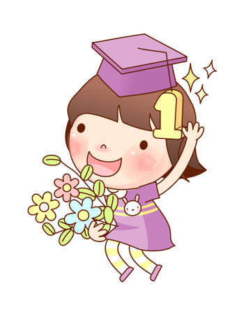 one person only: Portrait of girl with graduation cap Illustration