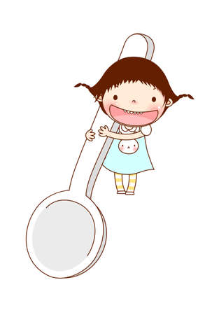Portrait of girl holding spoon Stock Vector - 15903898