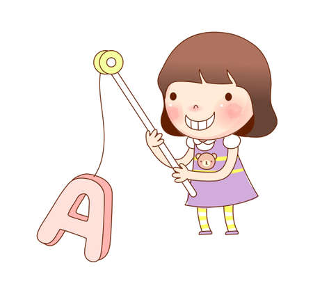 only baby girls: Portrait of girl holding alphabet A in fishing rod