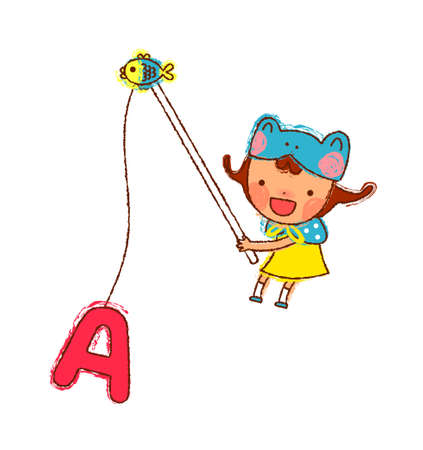 portrait of Girl holding fishing rod with alphabets A Vector