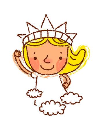 opened mouth: Retrato de la muchacha llevaba corona Vectores