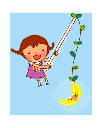 portrait of Girl holding stick with moon hanging on it Vector