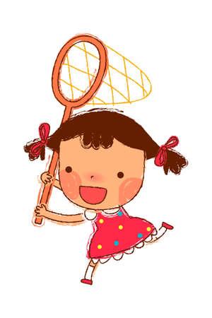only baby girls: portrait of Girl holding fishing net