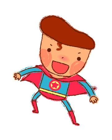 Portrait of boy in superman costume Vector