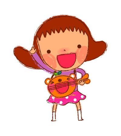 portrait of Girl playing guitar Vector