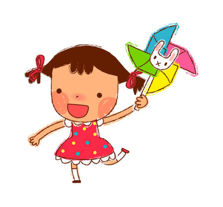 Portrait of Girl holding Pinwheel Vector