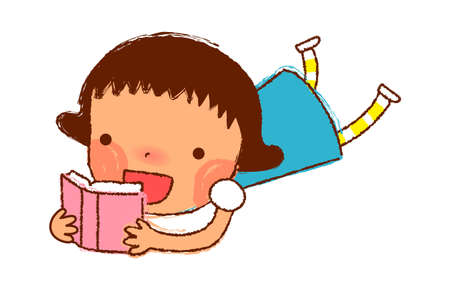 portrait of Girl reading book Vector