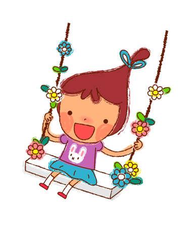 only baby girls: Portrait of Girl swinging