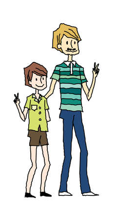 portrait of son and father making Peace sign with hands Vector