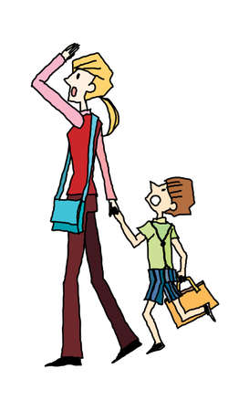 portrait of mother and son walking Vector