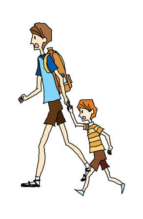 portrait of father and son walking Stock Vector - 15904060