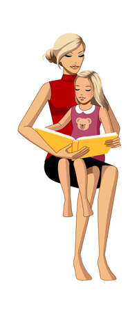 portrait of mother and daughter reading book Vector
