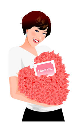 Close-up of woman holding bouquet Vector