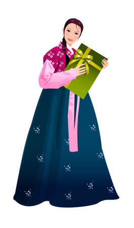 Close-up of woman holding gift box Vector