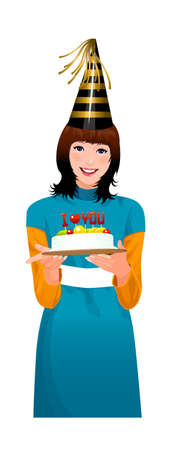 Close-up of woman holding cake Stock Vector - 15875059