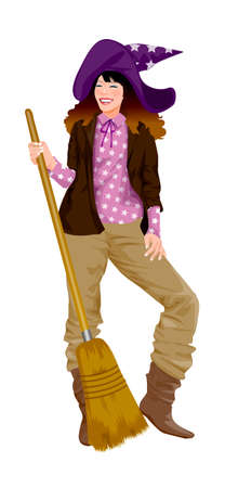 Close-up of woman holding broom Vector