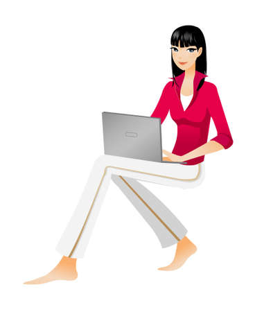 Side view of woman holding laptop Vector
