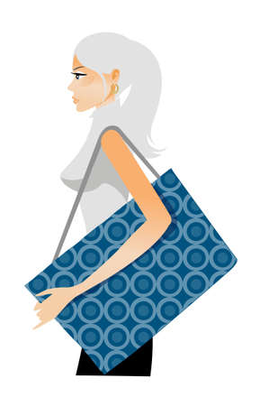 Side view of woman holding bag Vector