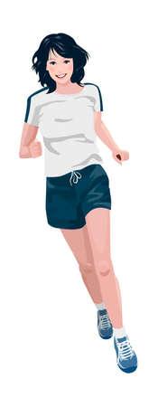egy fiatal nő csak a: Közelkép, nő fut Illusztráció
