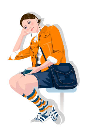 Side view of woman sitting Stock Vector - 15874985