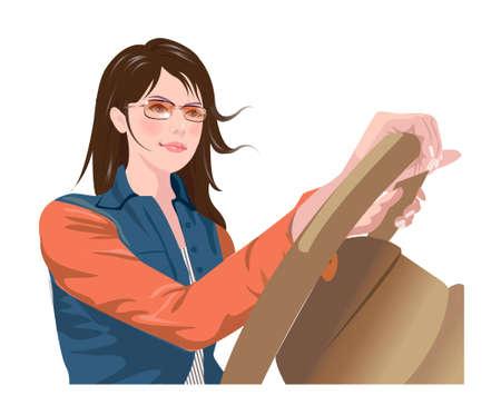 um jovem mulher só: Vista lateral de uma mulher dirigindo o carro Ilustração