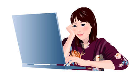 Close-up of woman sitting by laptop Vector