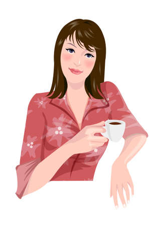 Close-up of woman holding cup Vector