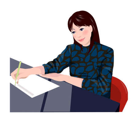 creative writing: Close-up of woman sitting   Illustration
