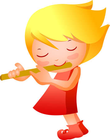 Close-up of girl playing pipe Vector