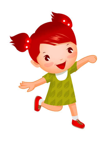 Side view of girl running Vector
