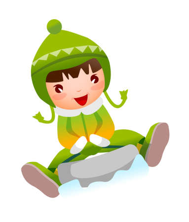 Close-up of girl sitting on skateboard Vector