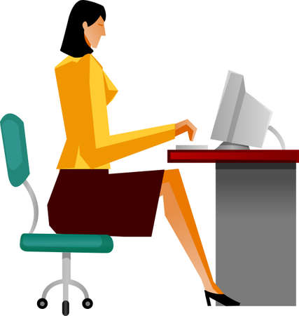 Side view of businesswoman sitting Stock Vector - 15878539