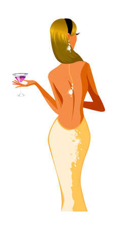 rear view of woman holding wineglass Vector