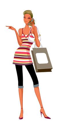 um jovem mulher só: close-up da mulher que prende o telefone m�vel Ilustração
