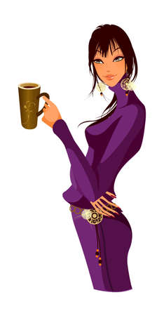 side view of woman holding cup Stock Vector - 15872471