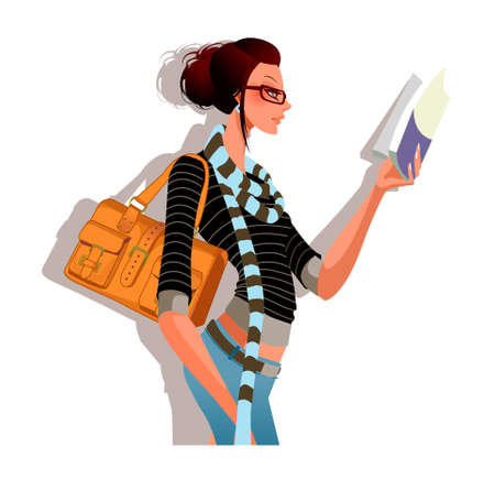 side view of woman holding book Illustration