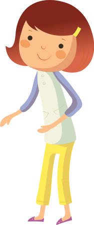 side view of girl standing Vector