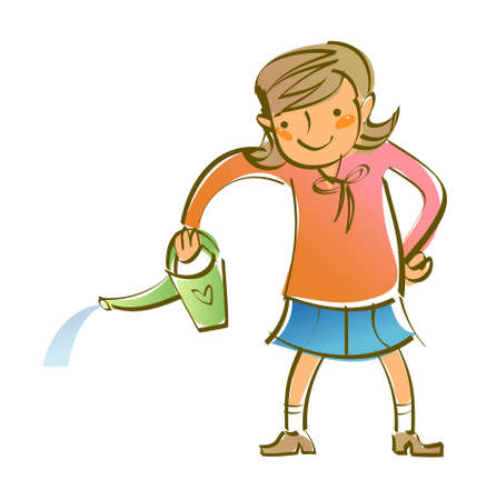 close-up of girl holding watering can Stock Vector - 15878799