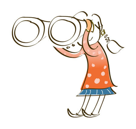 side view of girl holding binocular Vector