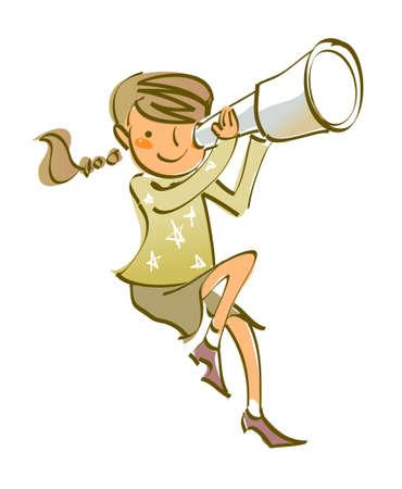 t�lescopes: vue de c�t� de la jeune fille tenue t�lescope