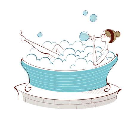 side view of woman sitting in bathtub Illustration