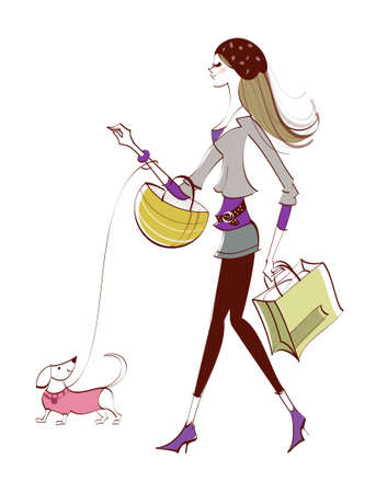 side view of woman walking with dog Vector