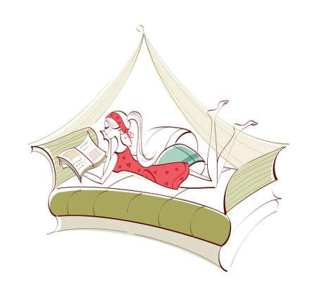 um jovem mulher só: Vista lateral da mulher deitada na cama