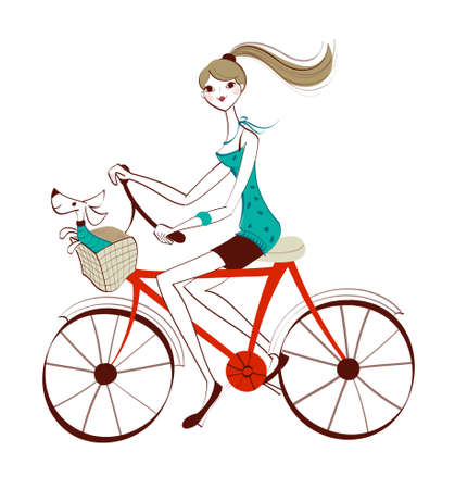 side view of woman riding bicycle Vector