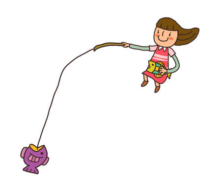 come�o: vista lateral da menina segurando vara de pesca Ilustra��o