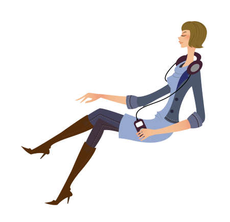 side view of woman sitting Vector